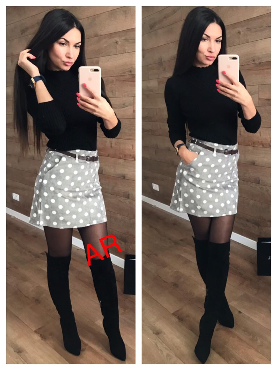 Вельветовая короткая юбка в горох с поясом 42-46