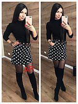 Вельветовая короткая юбка в горох с поясом 42-46, фото 3