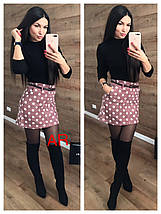 Вельветовая короткая юбка в горох с поясом 42-46, фото 2