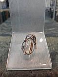 Шикарный серебряный комплект ручной работы серьги и кольцо с камнем кварц волосатик, фото 4