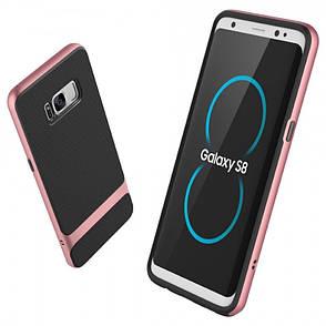Чехол накладка Rock RPC1221 для Samsung G950 S8 Royce ser.TPU + PC Черный / розовое золото, фото 2