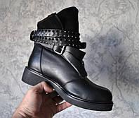 Женские кожаные ботинки сапоги утепленные с мехом. Италия