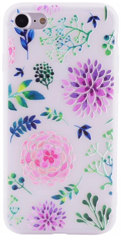 """Чехол накладка для iPhone 7/8 (4.7 """") Soft touch ser. Цветы Разноцветные"""