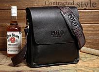 Красивая мужская сумка Polo Videng темно-коричневая