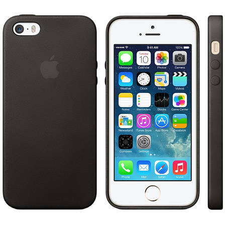 Чохол-накладка для iPhone 5/5S/SE Leather case ser. Чорний(325515), фото 2