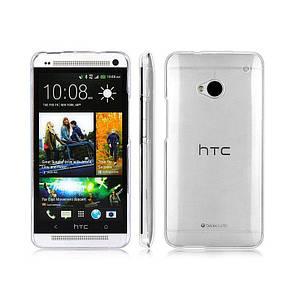 Чохол-накладка TPU для HTC One M7 Ultra-thin ser. Прозорий/безколірний, фото 2