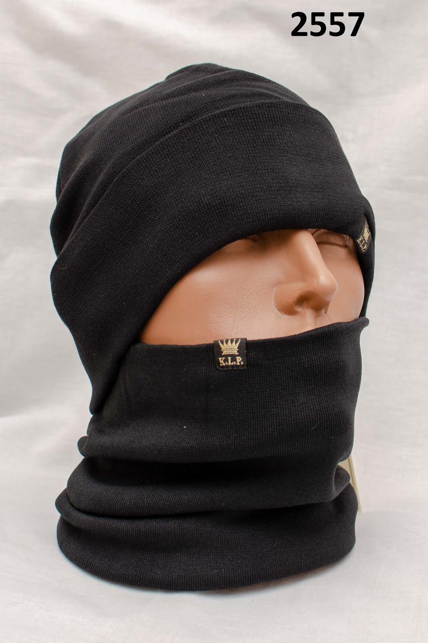 Комплект зимний Шапка вязаная черная + баф King Leg