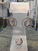 Шикарный серебряный комплект ручной работы серьги и кольцо с камнем кварц волосатик, фото 1