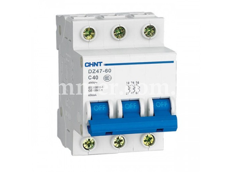 Автоматичний вимикач CHINT DZ47-60 3P 4.5KA C 40A