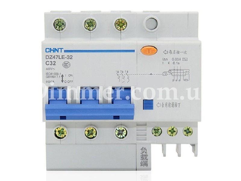 Диф. автомат CHINT DZ47LE-32 3P+N C32 30mA тип AC х-ка С 6kA
