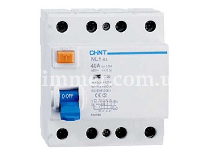 УЗО CHINT NL1-63 6kA 4P 40A 30mA тип AC