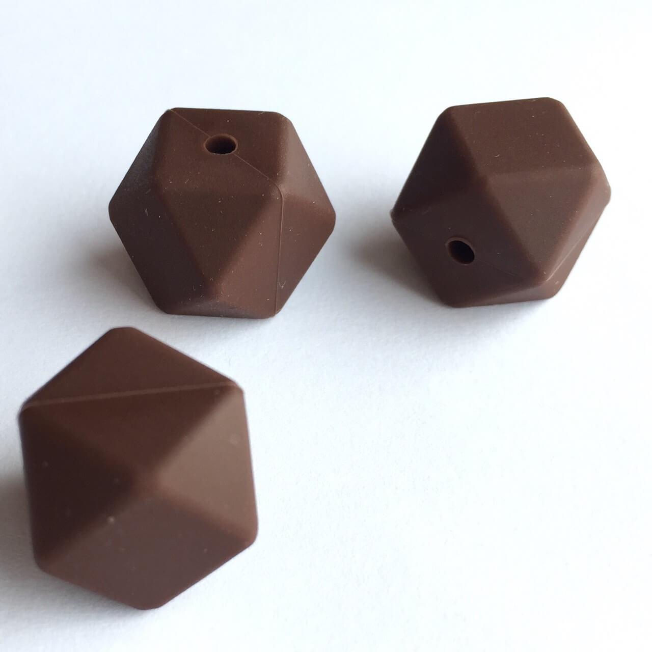 Гексагон 17мм (коричневый), силиконовые бусины