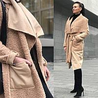 Двухсторонняя дубленка-пальто