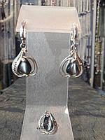 Шикарный серебряный комплект кольцо и серьги с камнем улексит (кошачий глаз)