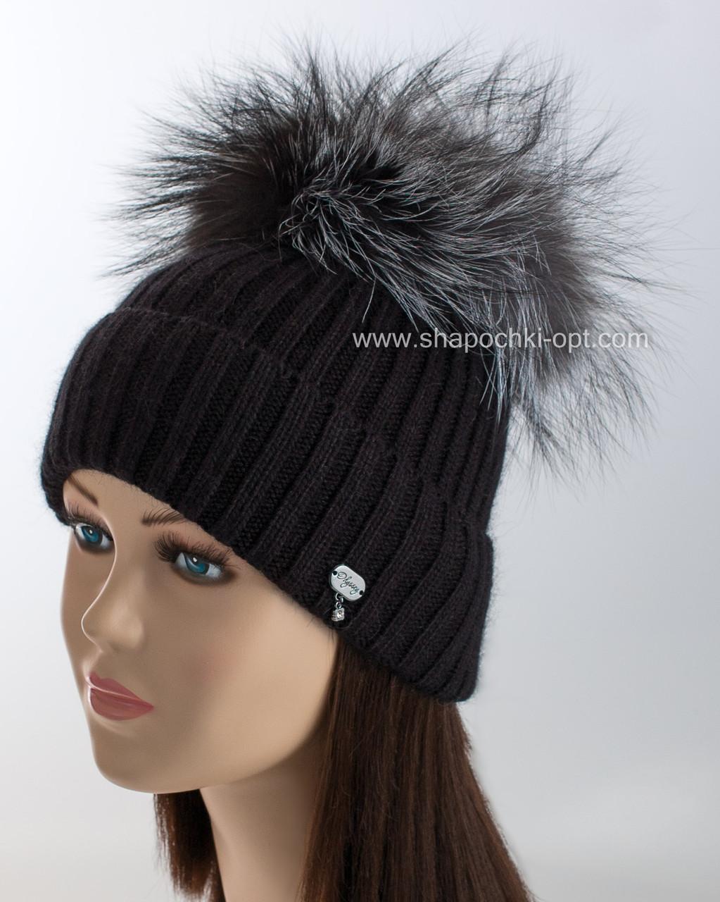 черная вязаная шапка бархат с помпоном из чернобурки продажа цена