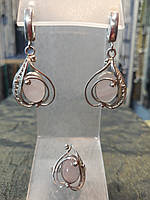 Шикарный серебряный комплект кольцо и серьги с камнем розовый кварц