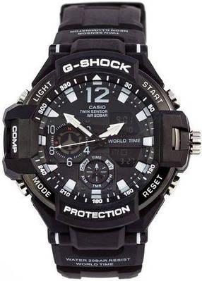 Часы в спортивном стиле Casio G-Shock GA-1100 Black-White копия