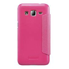 Чехол книжка Nillkin для Samsung J200H J2 Duos Sparkle ser. розовый, фото 3