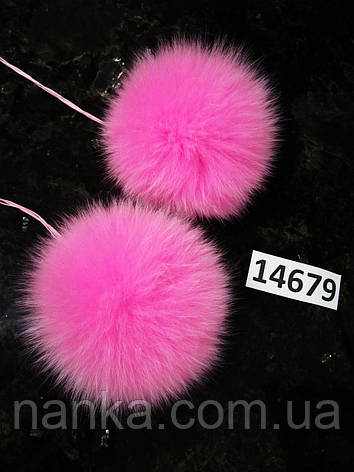 Меховой помпон Песец, Розовый, 11 см, пара 14679, фото 2