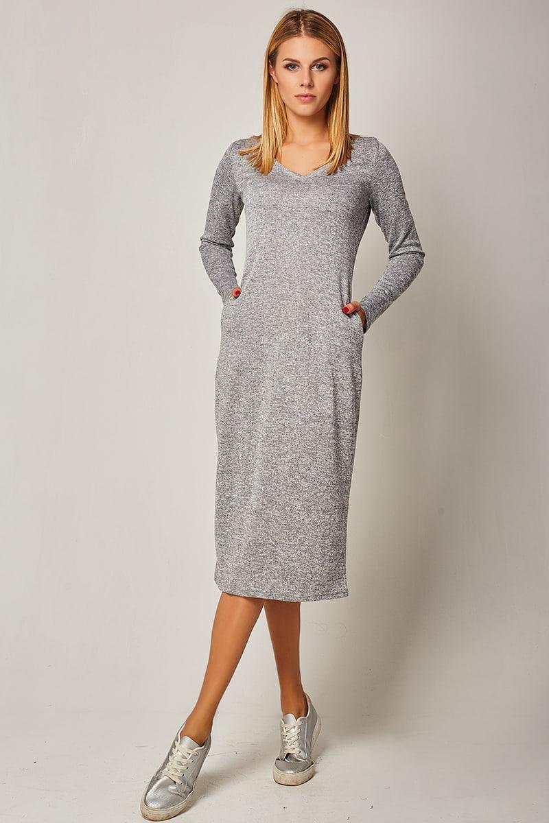 01e361f62f6a33c Женское трикотажное платье миди серого цвета с длинным рукавом. Модель  1433. Размеры 42-48