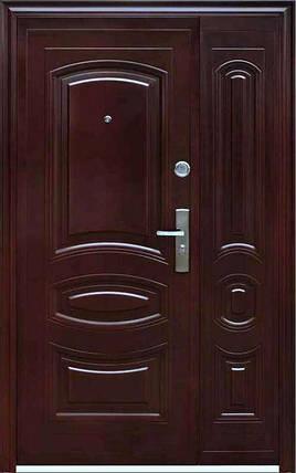 Уличные полуторные входные двери ААА 021 автолак вишня, фото 2
