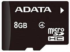 Карта пам'яті microSDHC ADATA 8GB class 4 +adapter SD (AUSDH8GCL4-RA1)