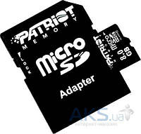 Карта памяти Patriot Memory card Secure Digital Micro 8Gb, LX Series (class 10)+SD Adapter (PSF8GMCSDHC10)