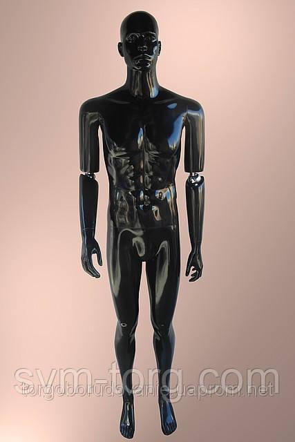 Мужской манекен лакированный серебряный