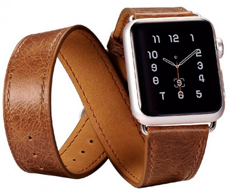 Ремінець Icarer для Apple iWatch 38mm Classic Genuine Leather ser. Темно-коричневий(992827)