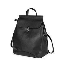 Женский стильный рюкзак-сумка из натуральной кожи черный