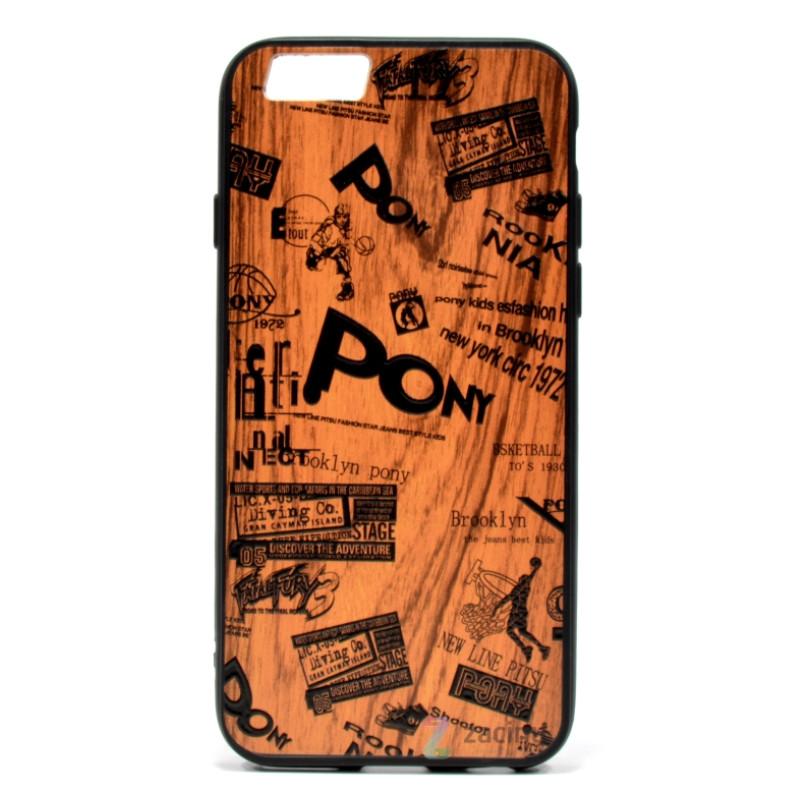 "Чохол-накладка для iPhone 6/6S (4.7"") Wood Plating ser. Коричневий/чорний"