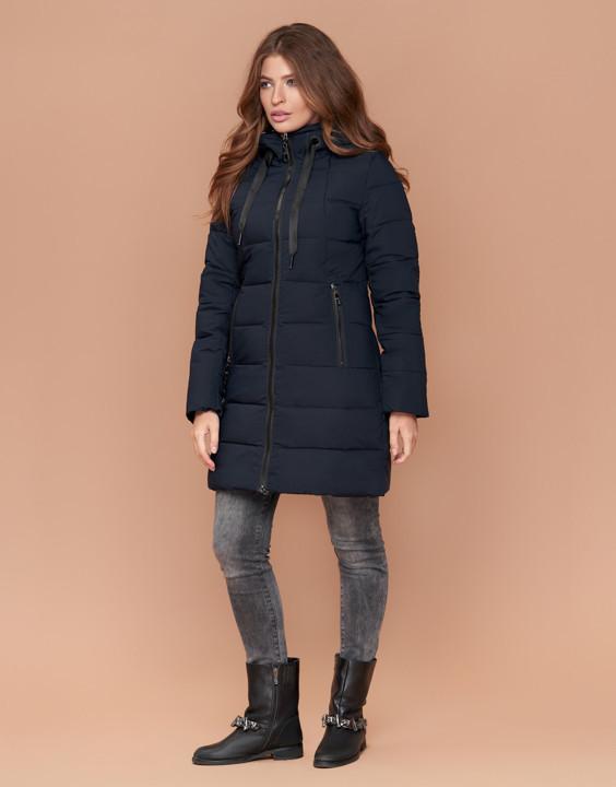 Зимняя женская куртка пуховик синяя