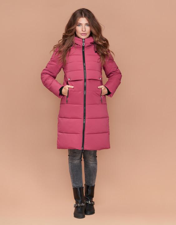 Куртка женская зимняя с капюшоном розовая