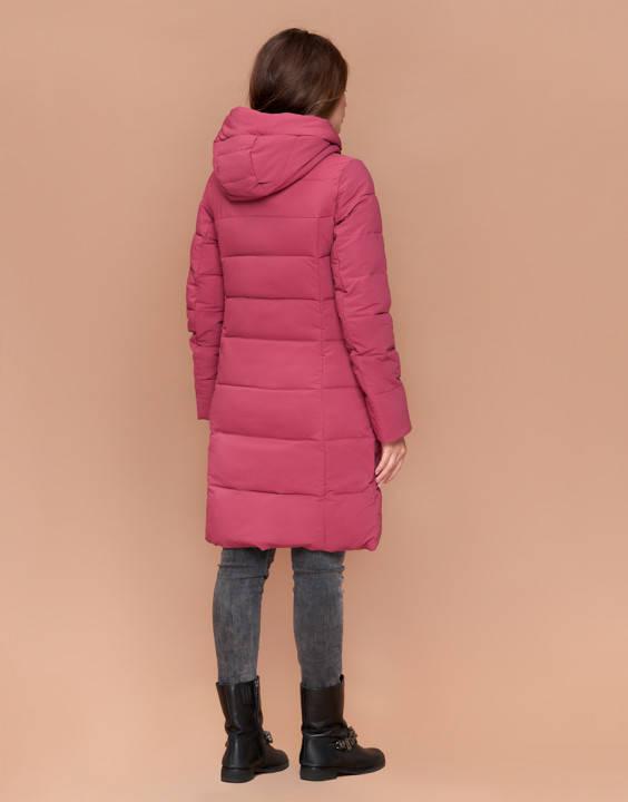 Куртка женская зимняя с капюшоном розовая, фото 2