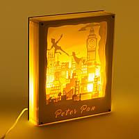 Светильник картина 3D Питер Пен Белый
