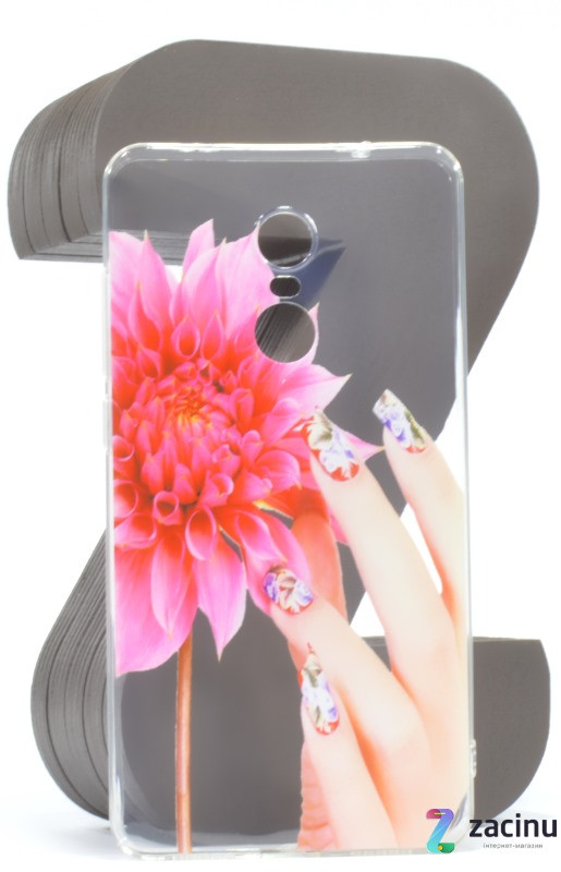 Чехол накладка для Xiaomi Redmi Note 4X Cute Print ser. Flower (fingers) Прозрачный / бесцветный