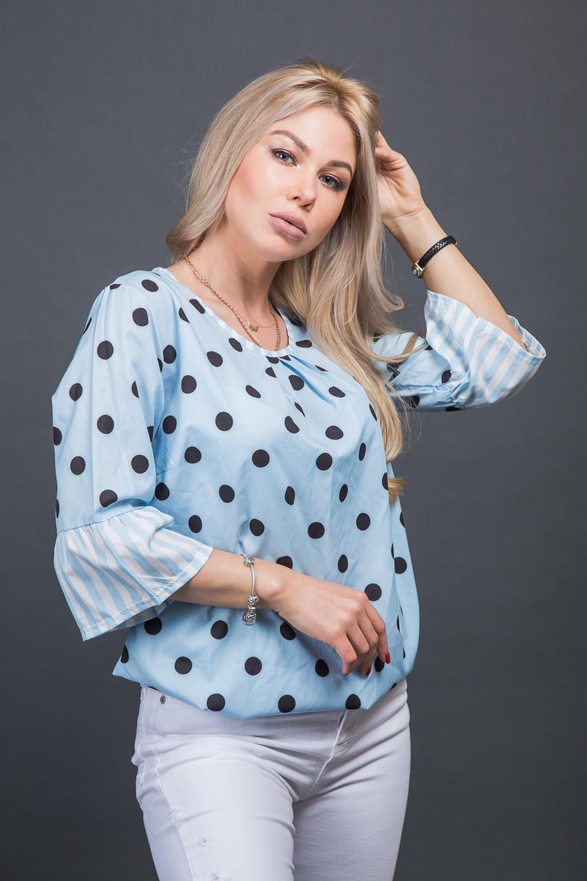 84966096129 Летняя блуза в гороховый принт - голубой цвет