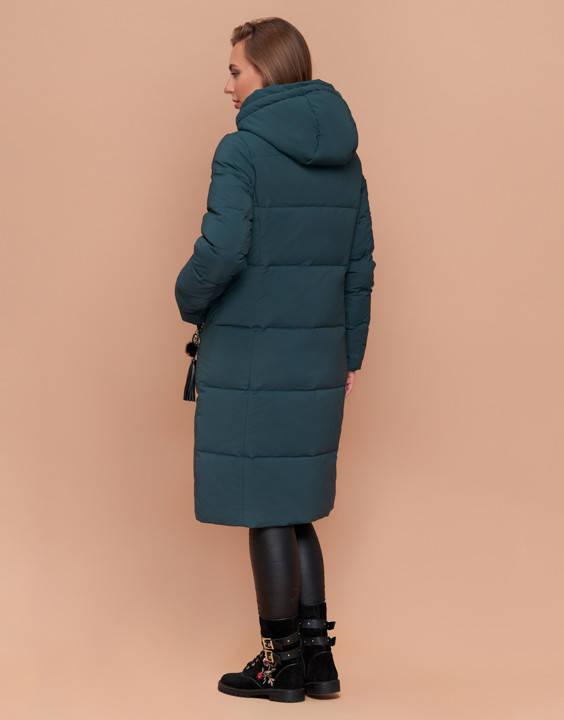 Пуховик женский длинный темно-бирюзовый, фото 2