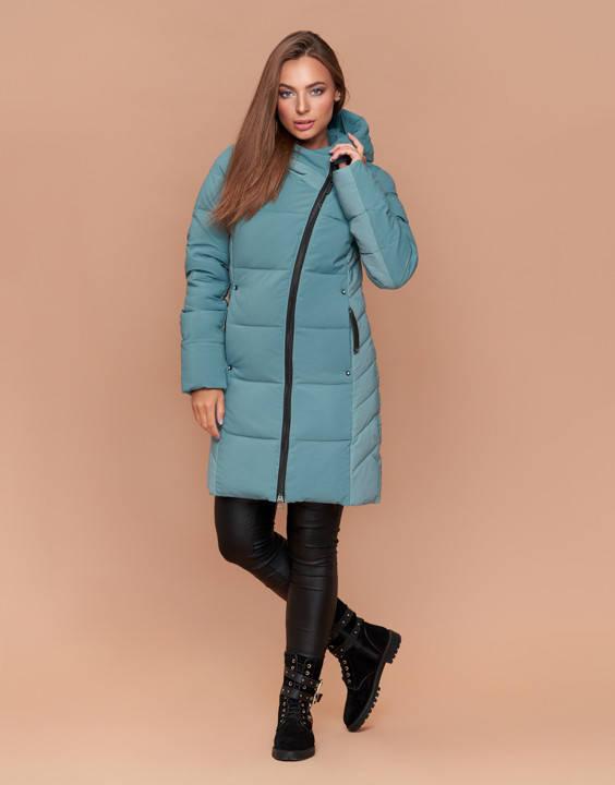 Куртка женская зимняя с капюшоном мята, фото 2