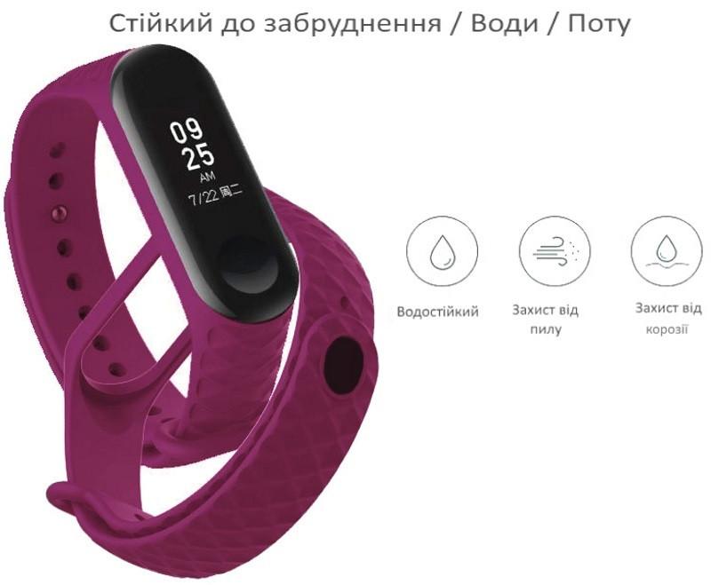 Ремінець для Xiaomi Mi Band 3 Силікон Ребристий-Ромб Фіолетовий (284963)