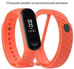 Ремешок для Xiaomi Mi Band 3 Силикон Ребристый-Ромб Оранжевый (284949), фото 2