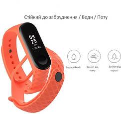 Ремешок для Xiaomi Mi Band 3 Силикон Ребристый-Ромб Оранжевый (284949), фото 3
