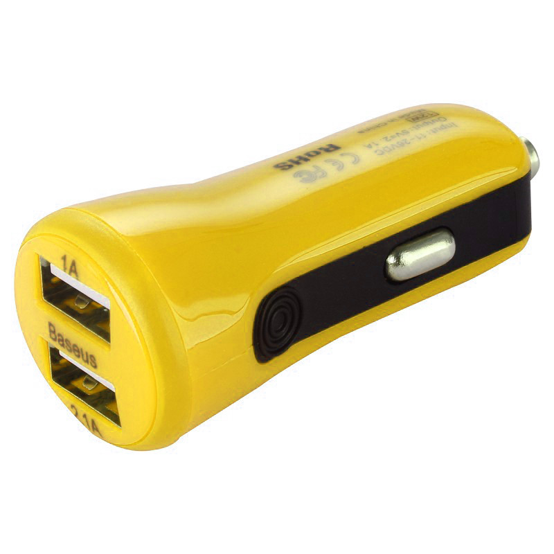 АЗУ Baseus Tiny (2USB, 1А+2.1А) \ yellow