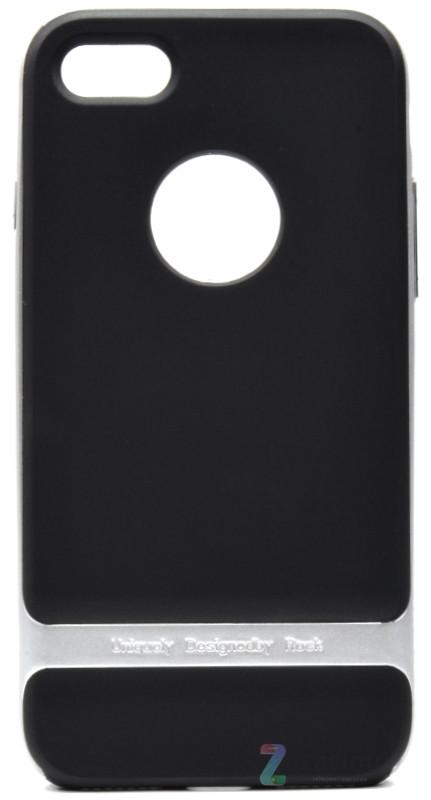 Чехол накладка ROCK для iPhone 7 Royce ser. TPU + PC Черный / серебристый (Копия)