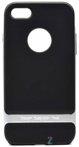 Чехол накладка ROCK для iPhone 7 Royce ser. TPU + PC Черный / серебристый (Копия), фото 2