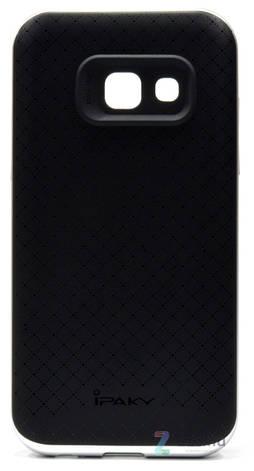 Чехол накладка iPaky для Samsung A320F A3 (2017) TPU + PC Черный / серебристый, фото 2