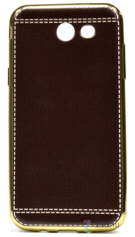 Чехол накладка для Samsung J330 J3 (2017) TPU Имитация кожи Темно коричневый (353112)