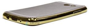 Чехол накладка для Samsung J330 J3 (2017) TPU Имитация кожи Темно коричневый (353112), фото 2
