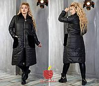 Женская теплая куртка-пальто на синтепоне с меховой отделкой Батал