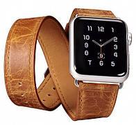 Ремешок Icarer для Apple iWatch 38mm Classic Genuine Leather ser.Светло-коричневый